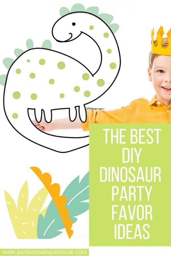 Boy with cartoon dinosaur - the best DIY Dinosaur Paryt Favor