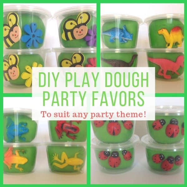 DIY Play Dough Party Favors to suit any party theme. Play dough tubs with animals