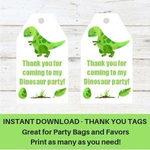 Dinosaur Thank you Tags Instant Download for Dinosaur Party Free Printable