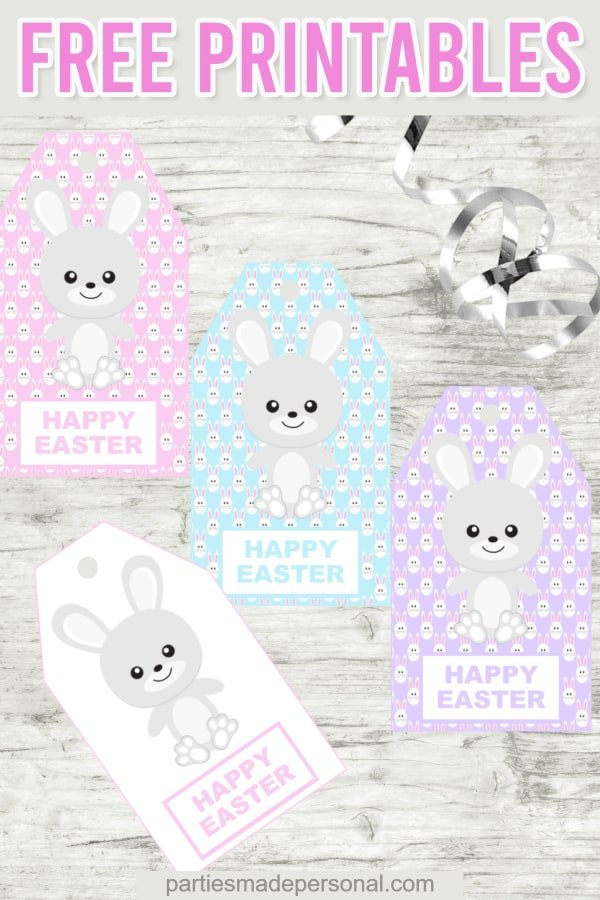 Free Easter gift tags printables with Easter Bunny in pink blue and purple