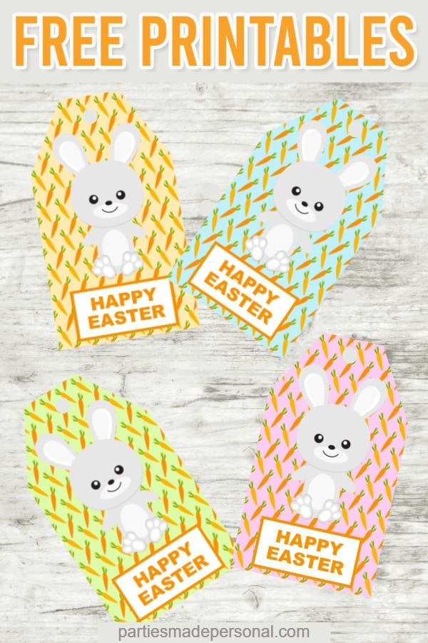 Free Easter gift tags printables with Easter bunny and carrots