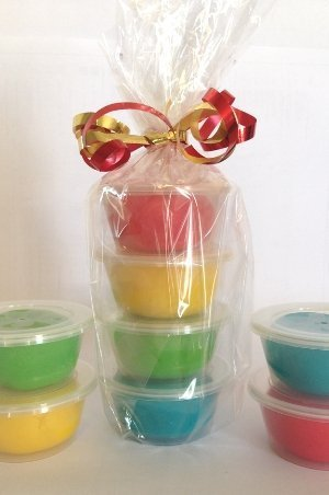 Multi colored play dough party favors stacked