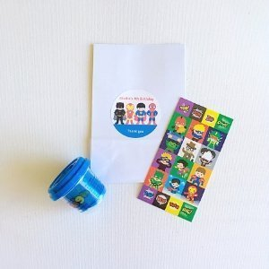 Superhero party bag with play dough and stickers