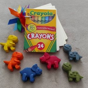 Dinosaur Crayons with dinosaur party bag