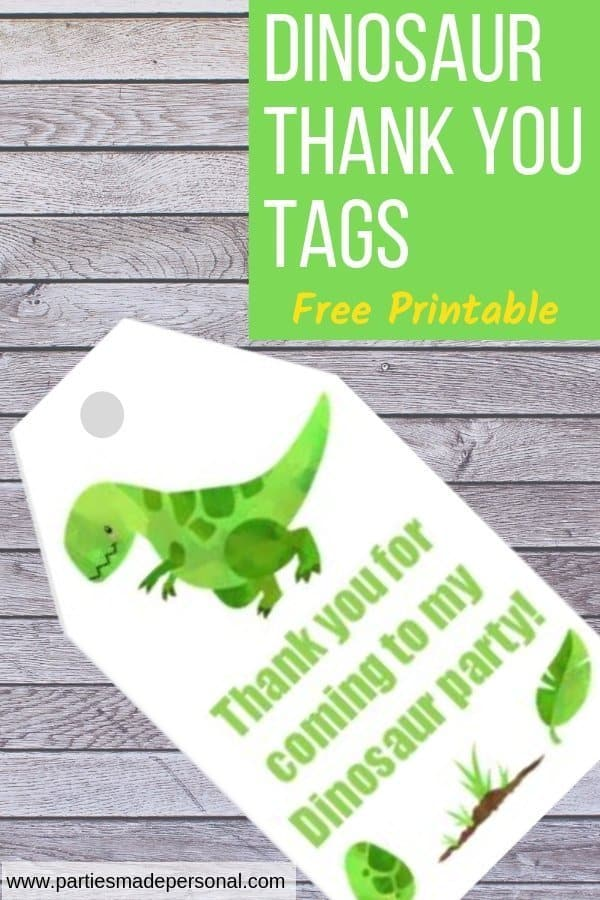 Dinosaur Thank you Tags Free Printable swing tags