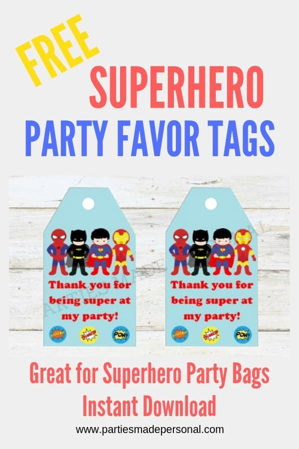 graphic regarding Free Printable Thank You Tags for Birthdays called Cost-free Superhero Thank Oneself Tags Events Manufactured Particular person