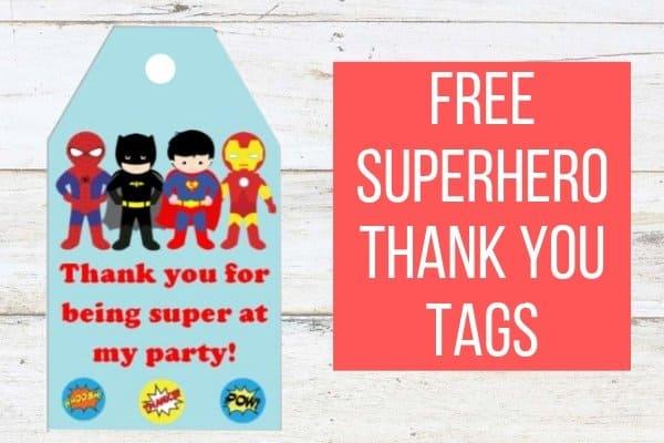 Free Printable Superhero Thank you tags