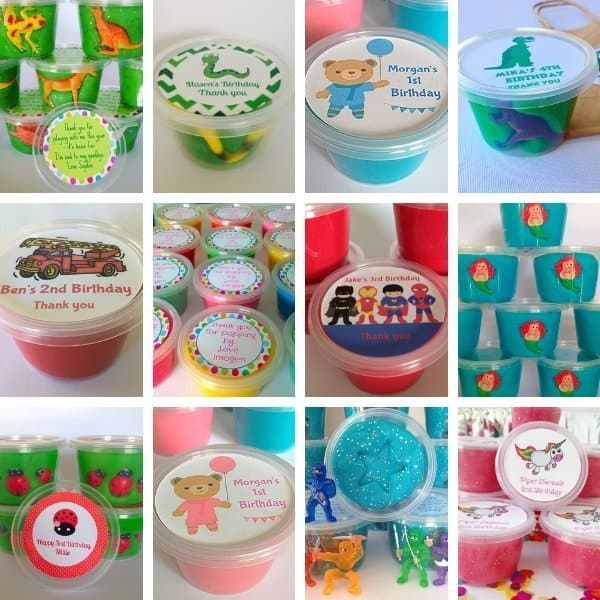 Play Dough Party Favors - lots of party themes