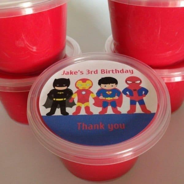 Superhero Play dough party favors