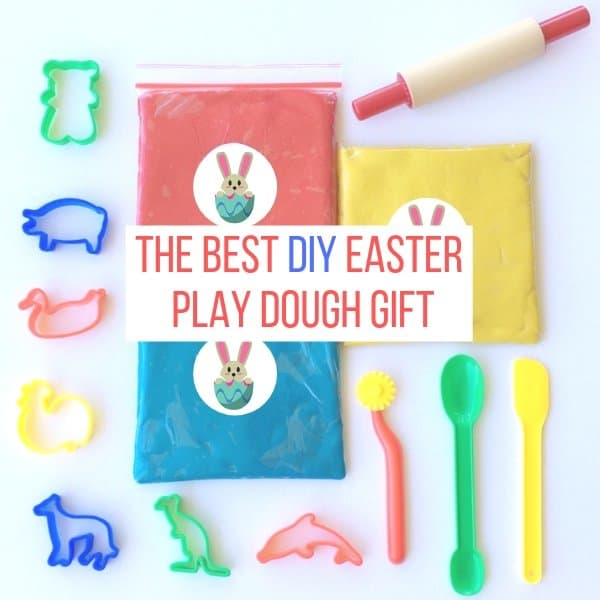 Easter Play Dough Packs with Play dough tools. Text The Best DIY Easter Playdough gift