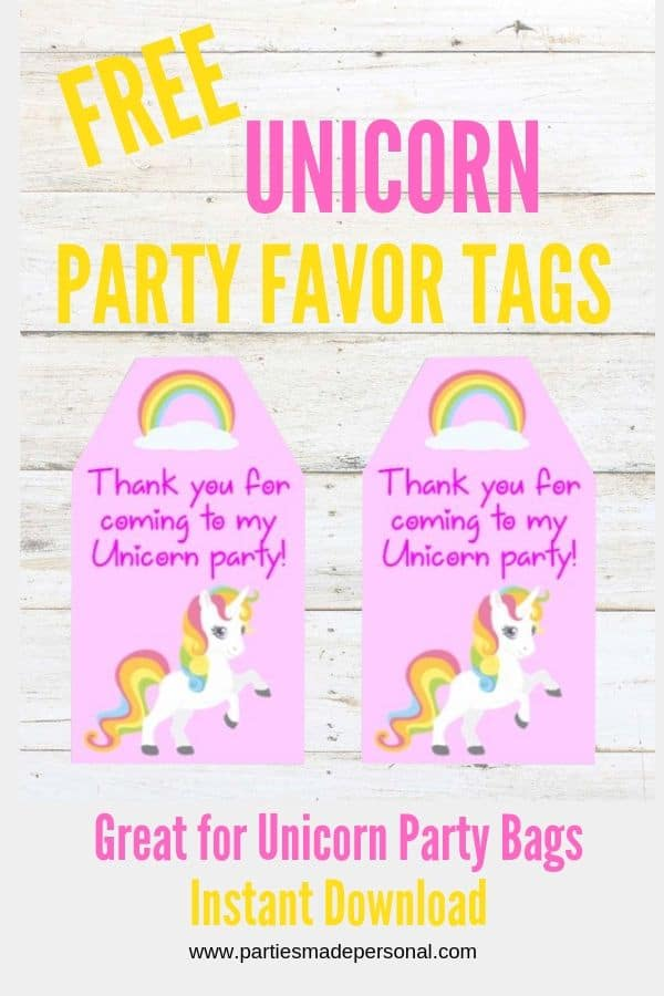 Free Unicorn Party Favor Tags