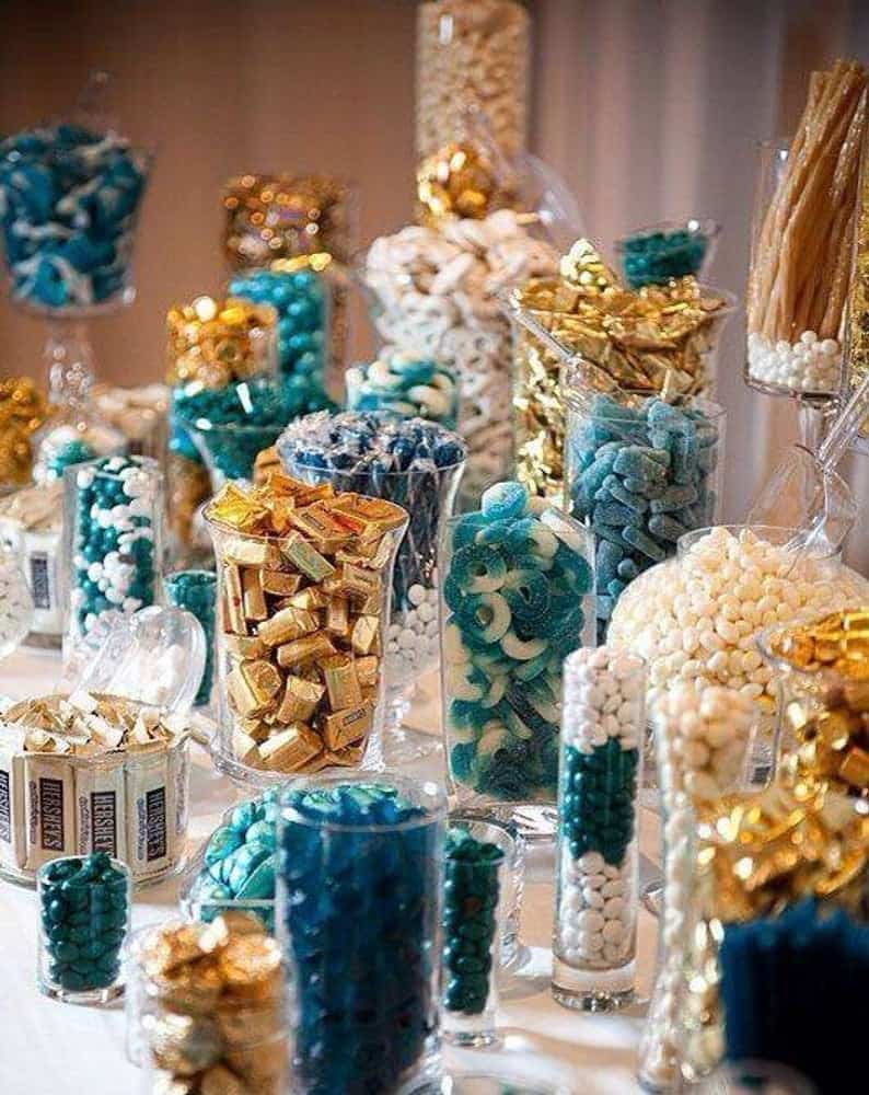 Blue and Gold Candy Buffet