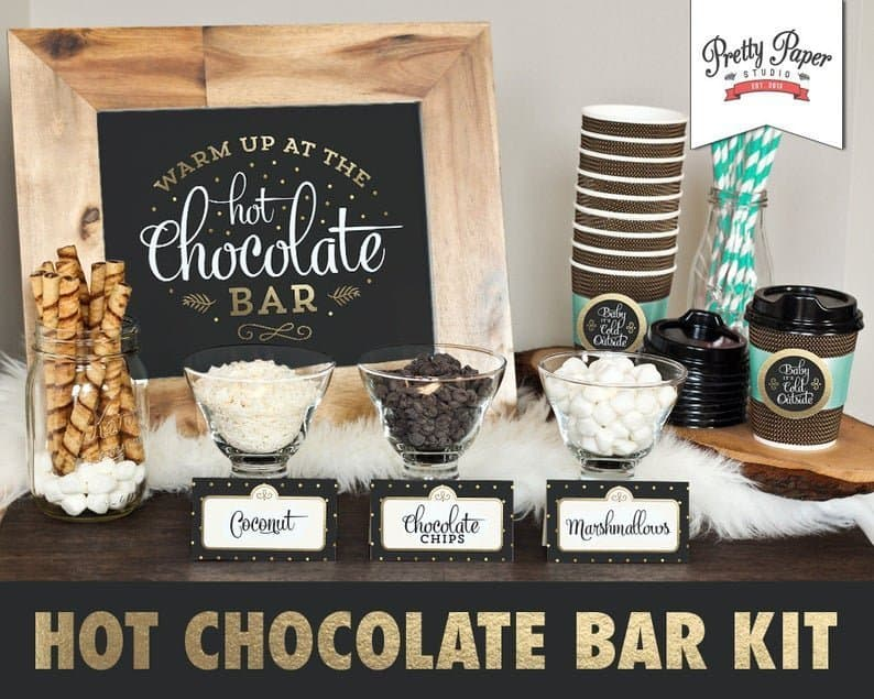 Hot Chocolate Bar Party printable decorations
