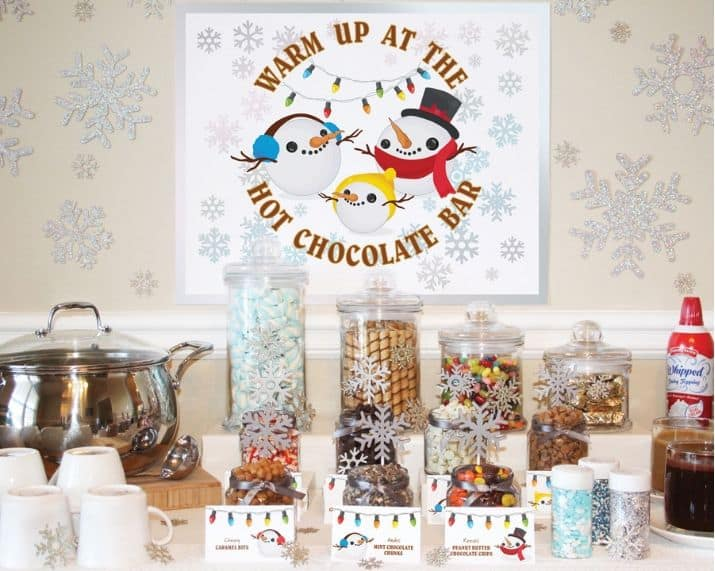 Hot Chocolate Bar Party Decorations Table Setting