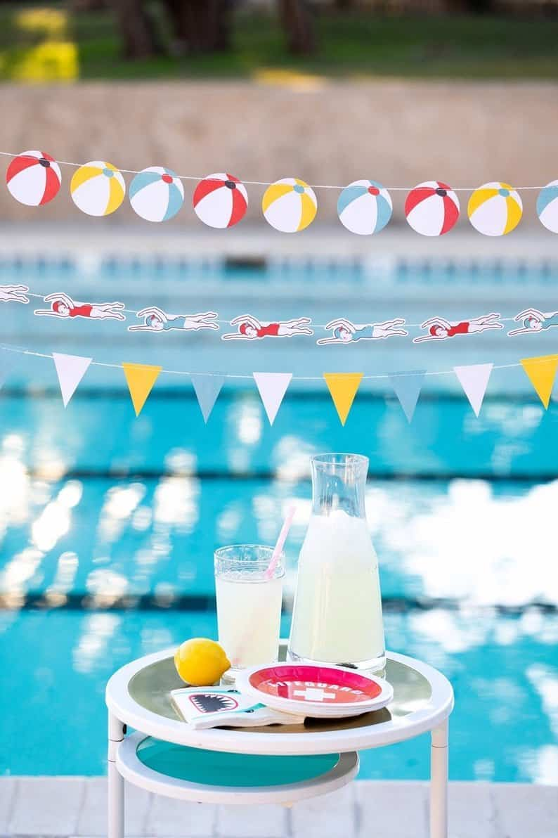 Pool Party Banner Bunting Party Decorations