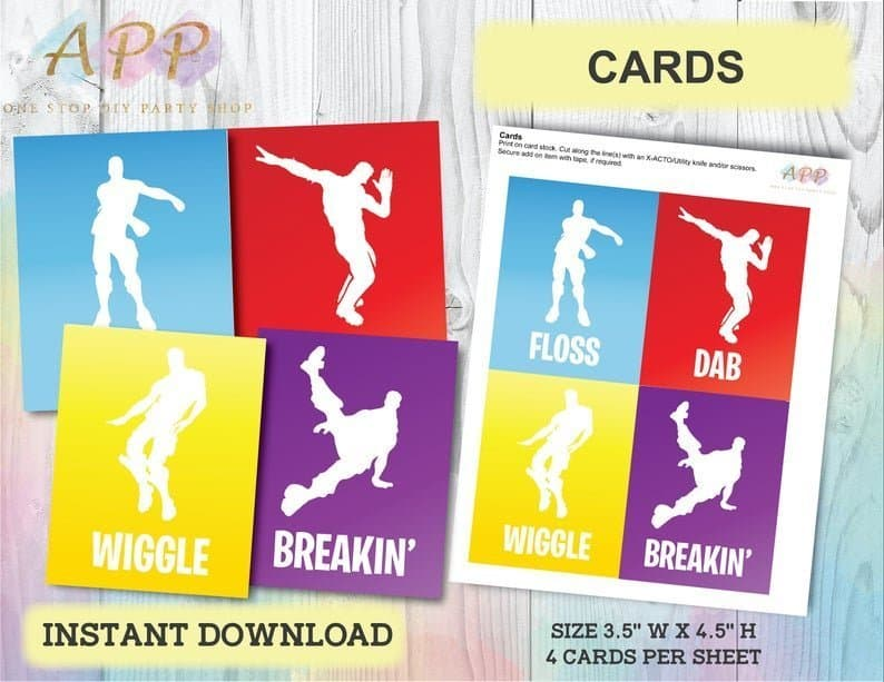Emote Dance Cards for Fortnite party game