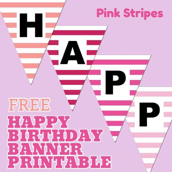 Pink Happy Birthday Banner Printable