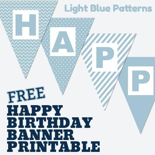 Happy Birthday Banner Printable Boy Light Blue