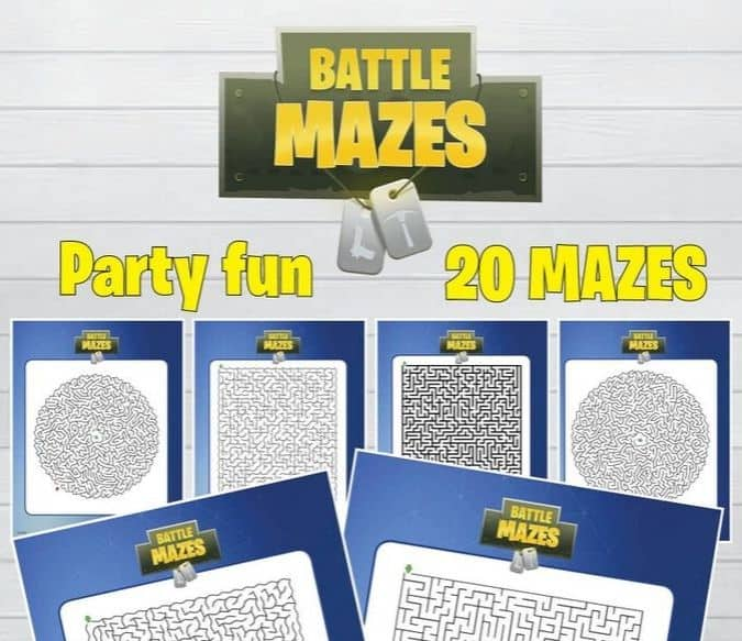 Battle Mazes Gaming printables for party