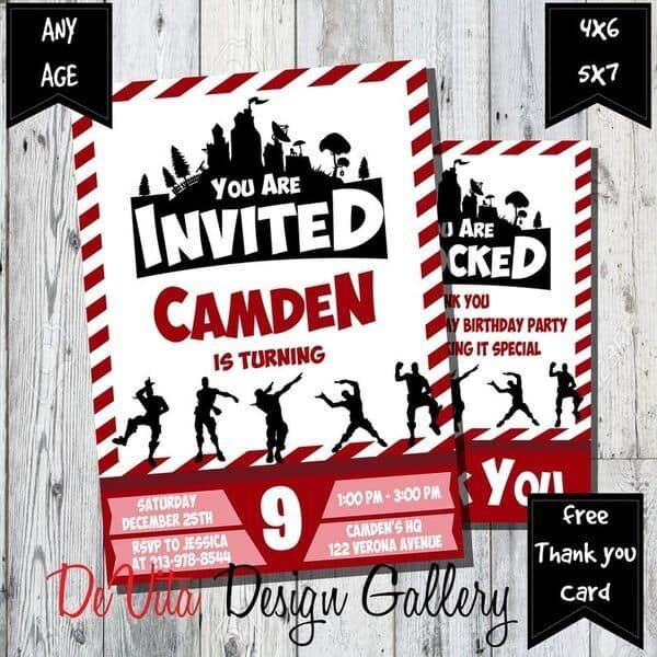 Fortnite Party Invitations