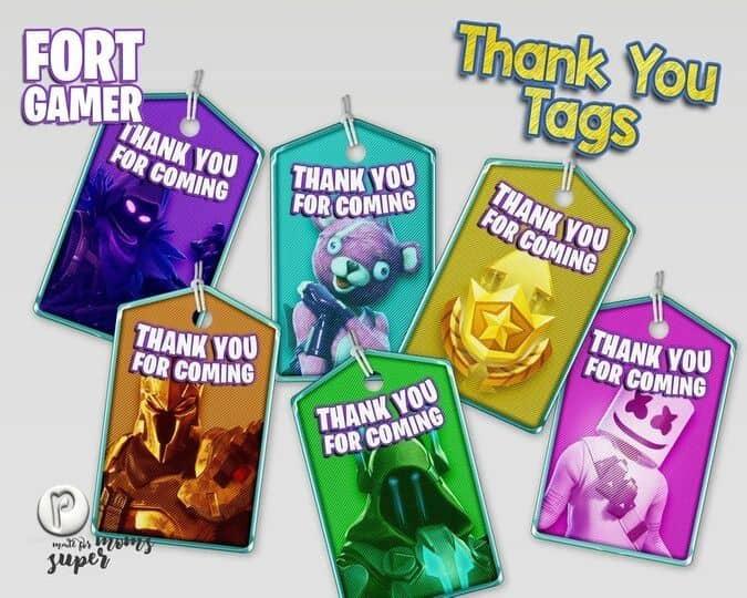 Fortnite Printables thank you tags