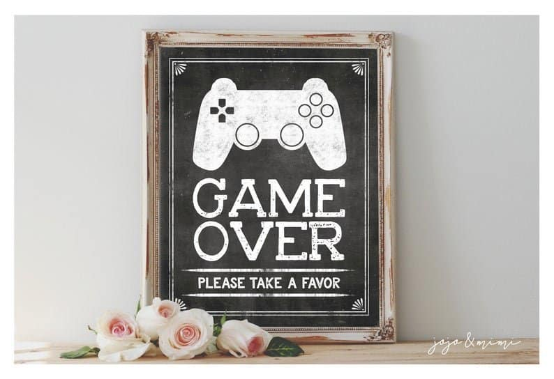 Game Over Print Gamer Party Printable