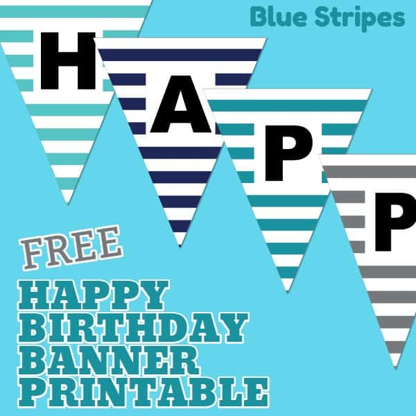Happy Birthday Banner Printable Boy Stripes