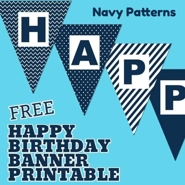 Happy Birthday Banner Printable Boy Navy