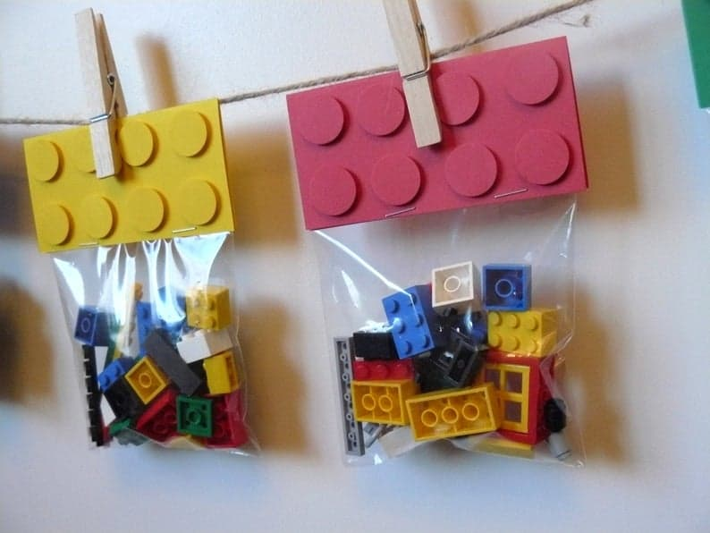 Lego blocks favor bags for lego party bags