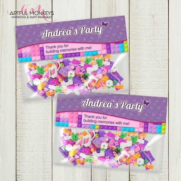 Lego friends party favors bag toppers personalized