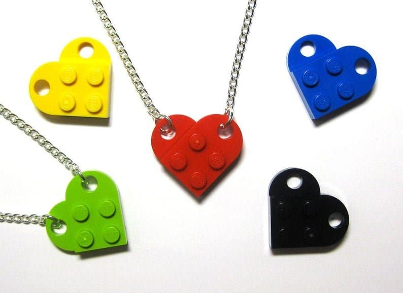 Lego heart necklaces