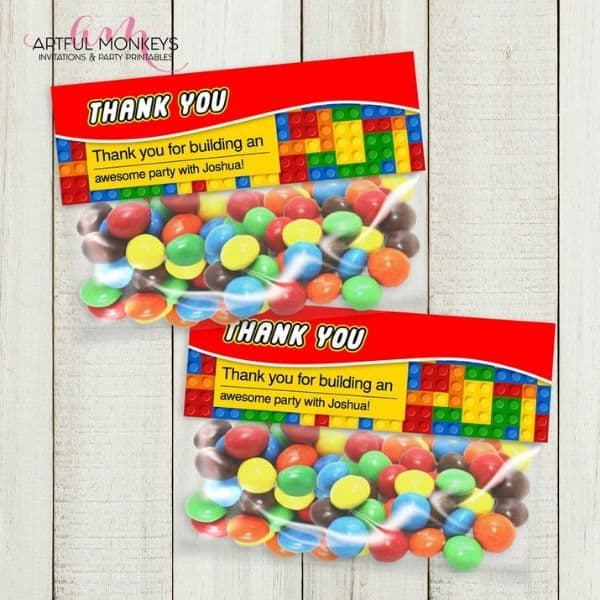 Personalized Lego Party Bag Toppers