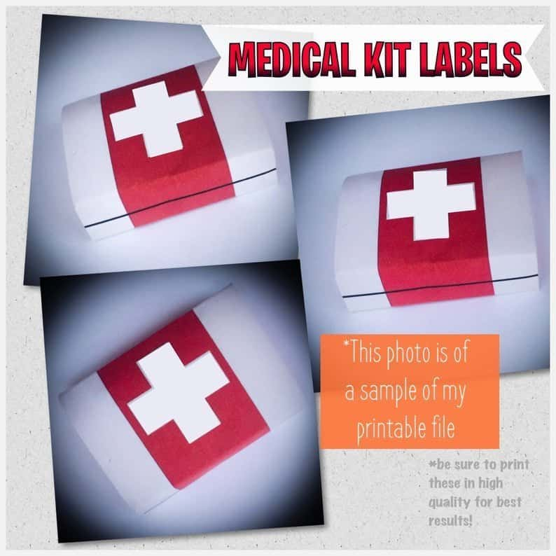 Medical Kit Labels - Gamers Party printables