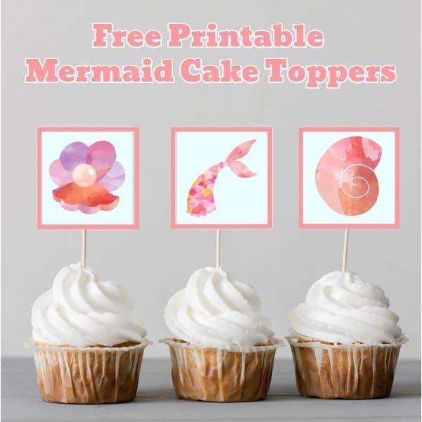 Mermaid Cupcake Toppers - Pink