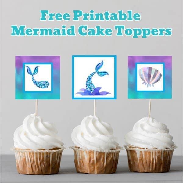 Mermaid Cupcake Toppers - Blue