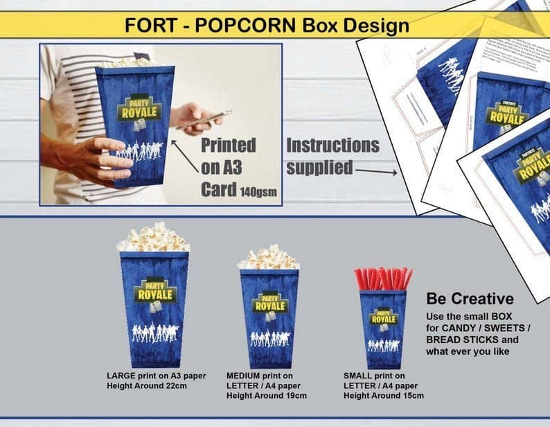 Printable popcorn boxes gaming party