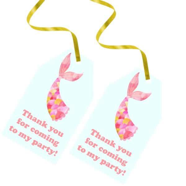 Printable Mermaid Thank You Tags - Pink