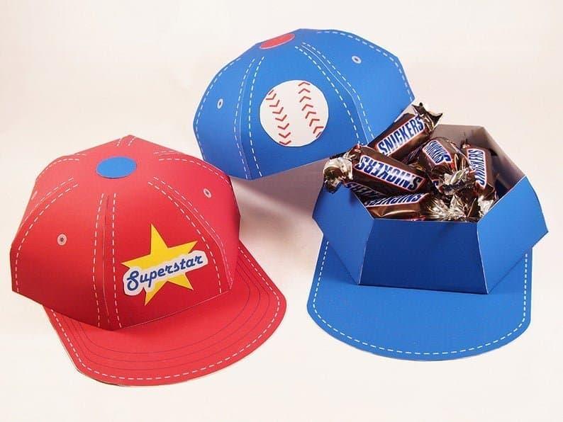Baseball Party Favor Boxes - Baseball Caps