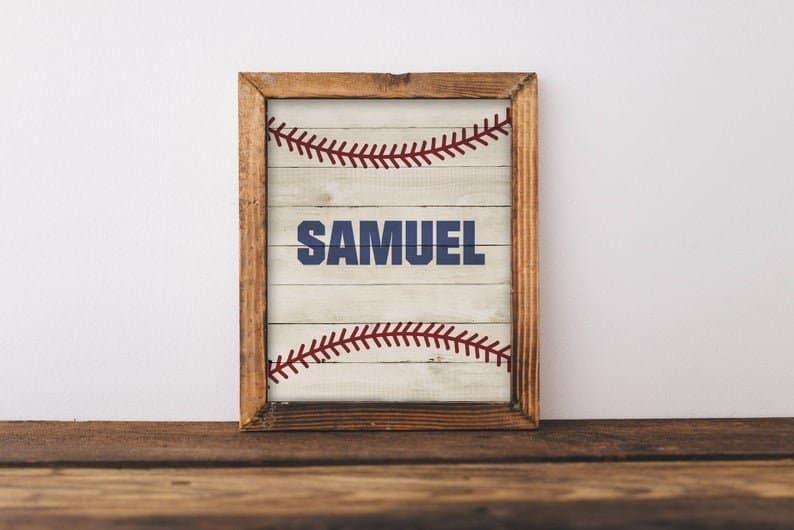 Personalized Baseball Name Print Sign