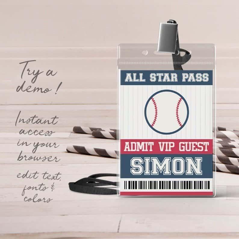 Baseball Party VIP Badge