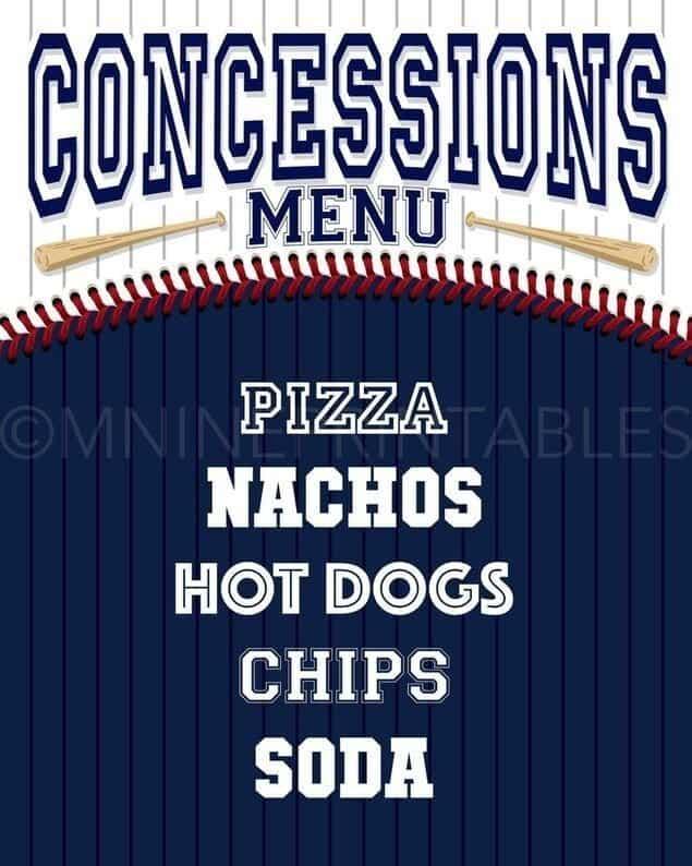 Baseball Party Menu Sign Concessions