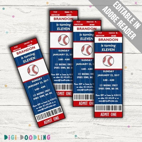 Baseball Party Invitations Tickets