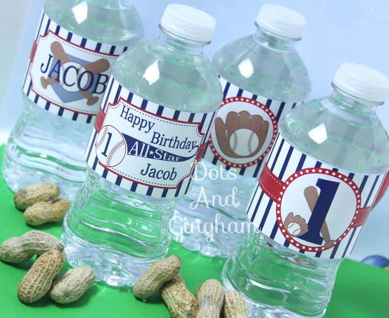 Baseball Water Bottle Labels