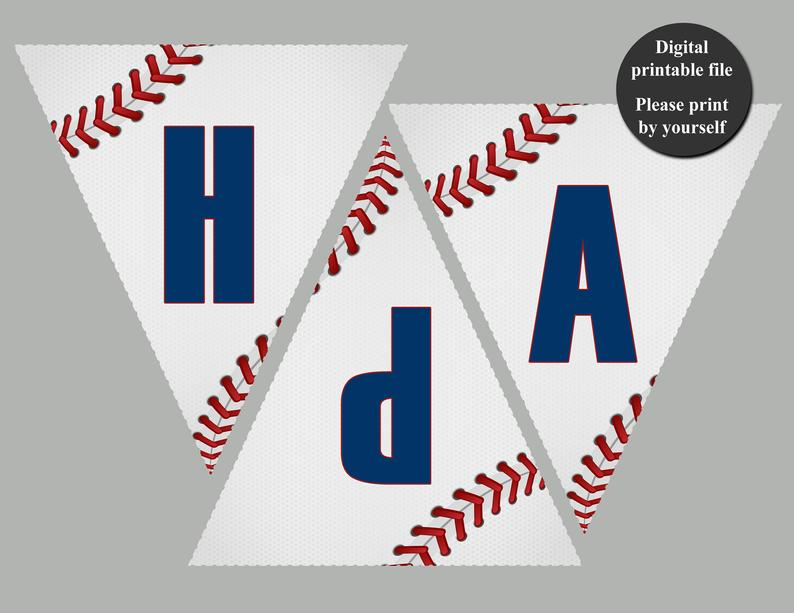 Baseball Party Banner Happy Birthday