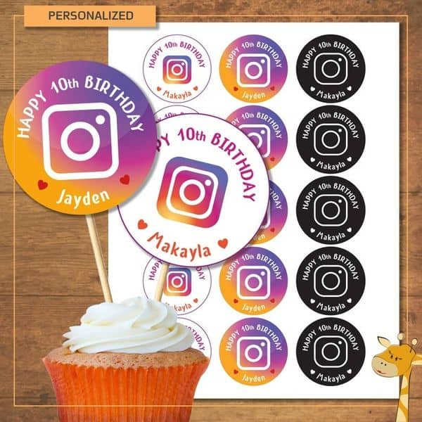 Instagram Cupcake Topper Printables