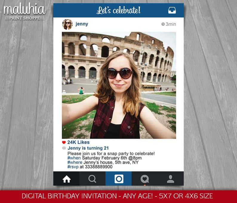 Instagram party invite