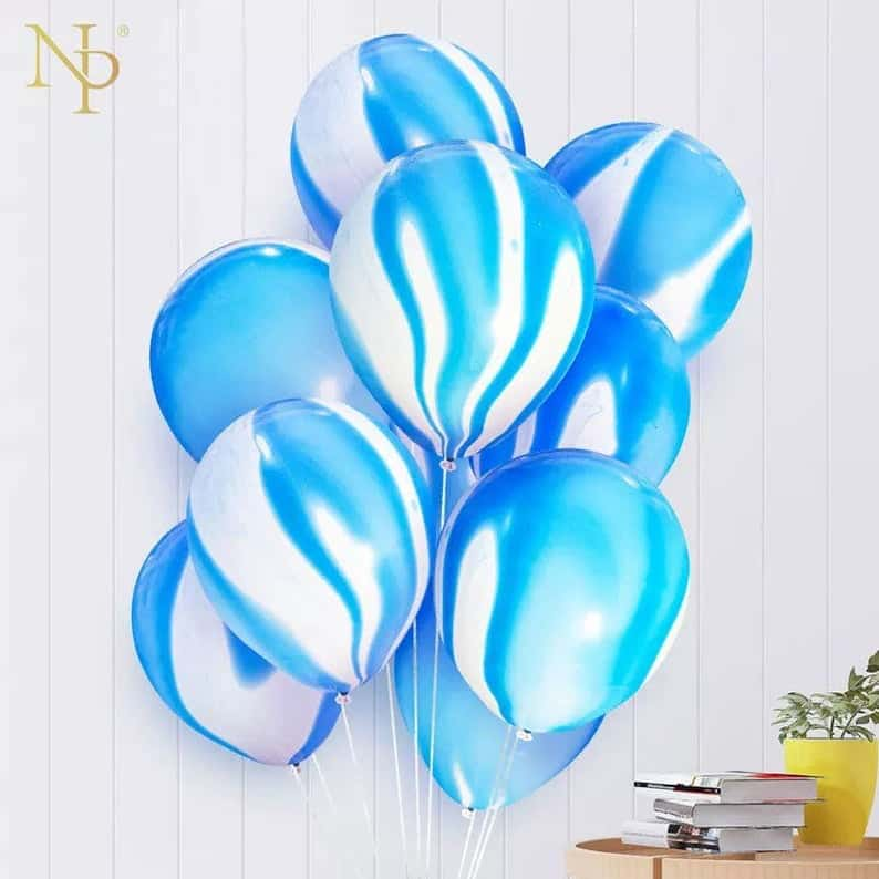 Blue marble balloons
