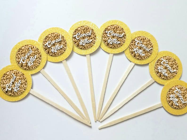 cereal killer cupcake toppers