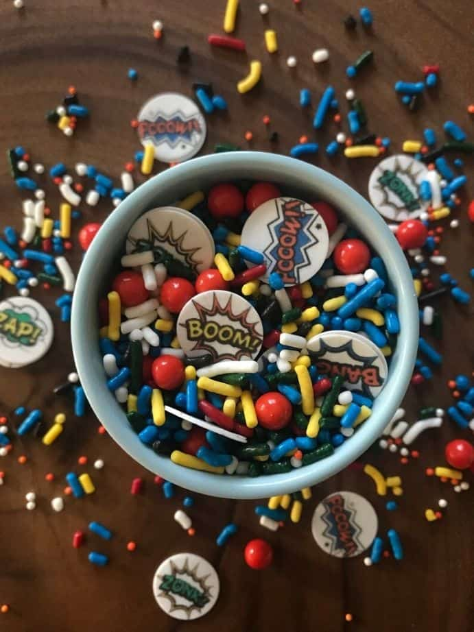 Superman Sprinkle Mix for superhero party food