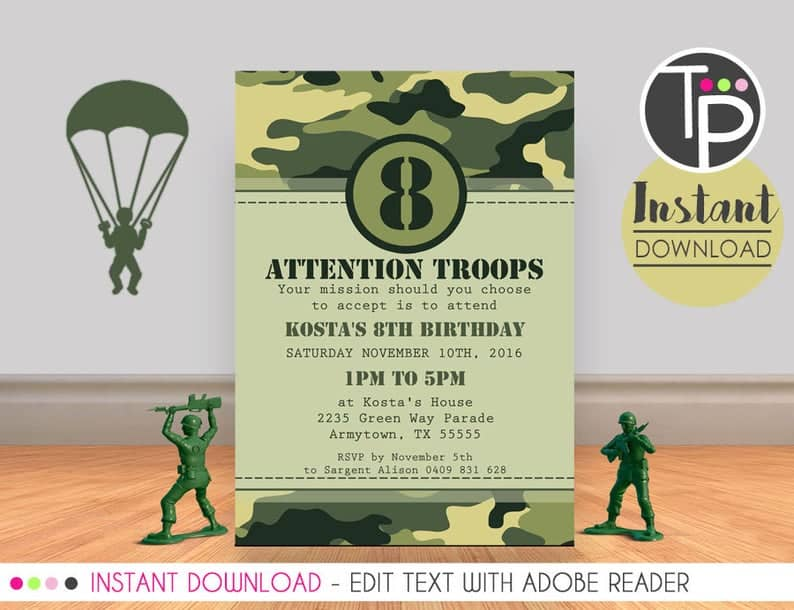 Toy Soldier Party Invitation